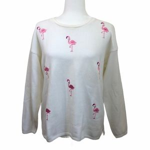 The Deep End Vintage Flamingo Sweater White Pink M